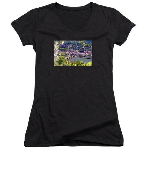 springtime in Heidelberg Women's V-Neck T-Shirt