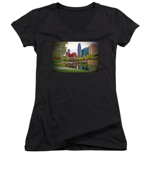 Springtime In Omaha Women's V-Neck T-Shirt (Junior Cut) by Elizabeth Winter