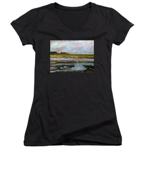 Women's V-Neck T-Shirt (Junior Cut) featuring the painting Springtime In The Marsh by Michael Helfen