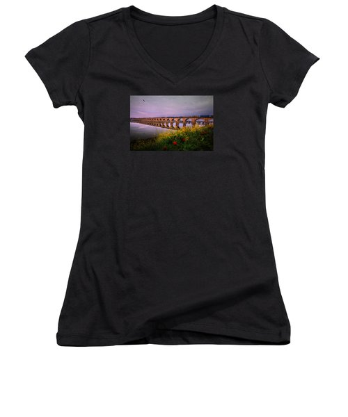 Women's V-Neck T-Shirt (Junior Cut) featuring the photograph Springtime Reflections From Shipoke by Shelley Neff
