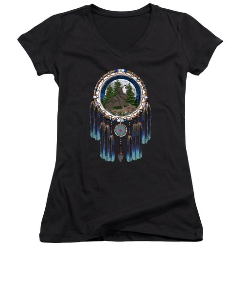 Sprit Of The Wolf Women's V-Neck T-Shirt