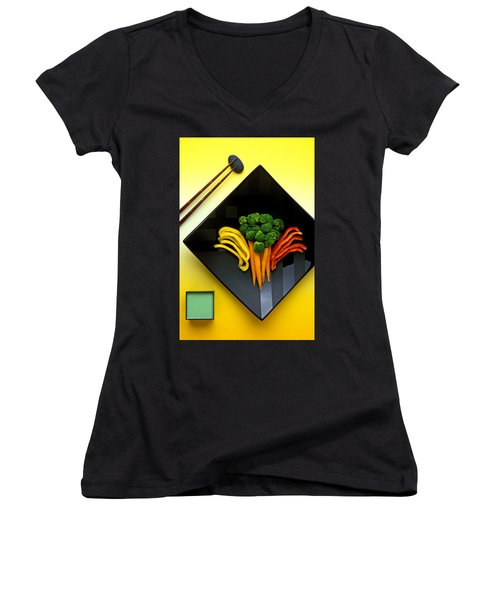 Square Plate Women's V-Neck T-Shirt (Junior Cut) by Garry Gay