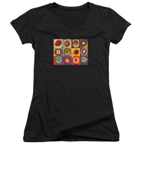 Squares With Concentric Circles Women's V-Neck T-Shirt (Junior Cut) by Wassily Kandinsky