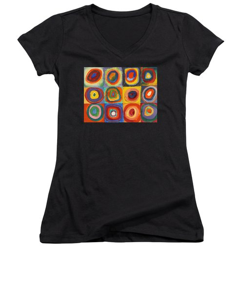 Squares With Concentric Circles Women's V-Neck