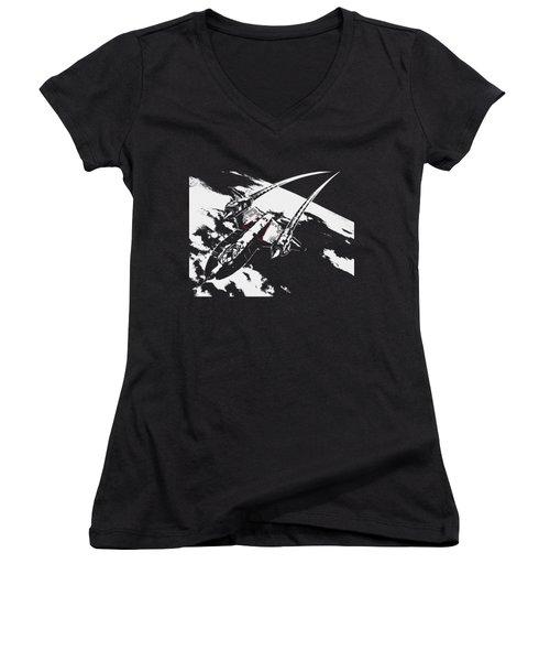 Sr-71 Flying High Women's V-Neck T-Shirt (Junior Cut) by Ewan Tallentire