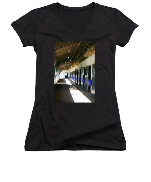 Women's V-Neck T-Shirt (Junior Cut) featuring the photograph Stable Ready by Cathy Harper