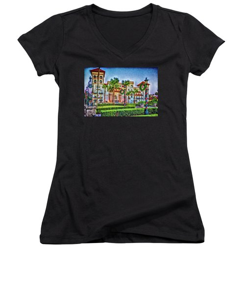 St. Augustine Downtown Christmas Women's V-Neck (Athletic Fit)