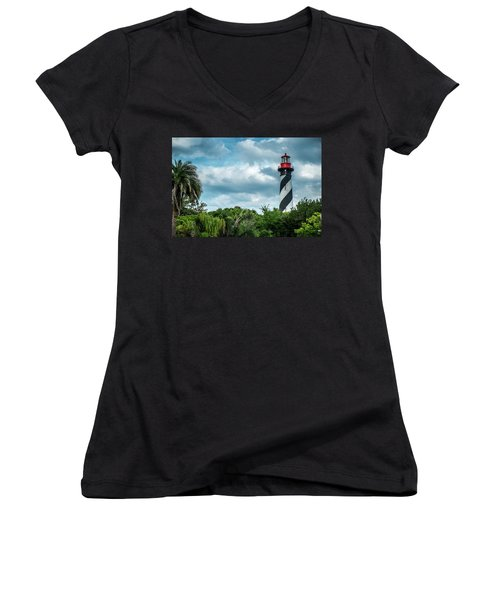 Women's V-Neck T-Shirt (Junior Cut) featuring the photograph St. Augustine Lighthouse by Louis Ferreira