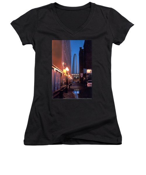 Women's V-Neck T-Shirt (Junior Cut) featuring the photograph St. Louis Arch by Steve Karol