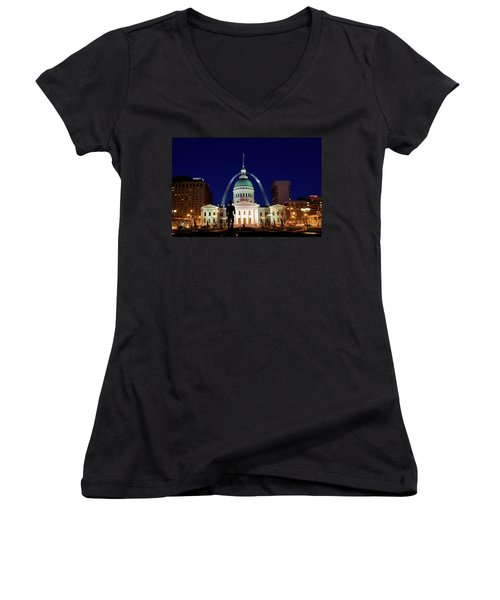 St. Louis Women's V-Neck T-Shirt (Junior Cut) by Steve Stuller