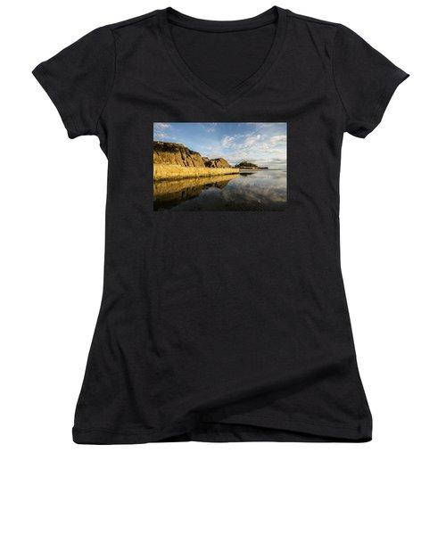 St Michaels Mount Cornwall  Women's V-Neck T-Shirt (Junior Cut) by Ken Brannen