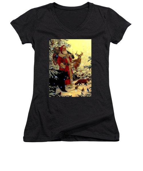 St Nick  And Friends Women's V-Neck T-Shirt (Junior Cut) by Judyann Matthews