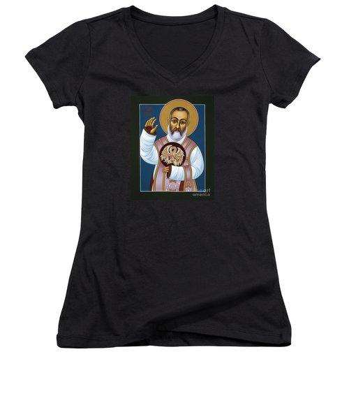 St Padre Pio Mother Pelican 047 Women's V-Neck