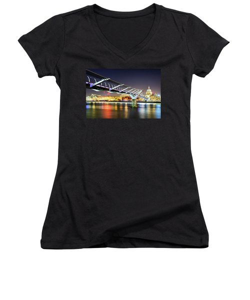 St Paul's Cathedral During Night From The Millennium Bridge Over River Thames, London, United Kingdom. Women's V-Neck T-Shirt