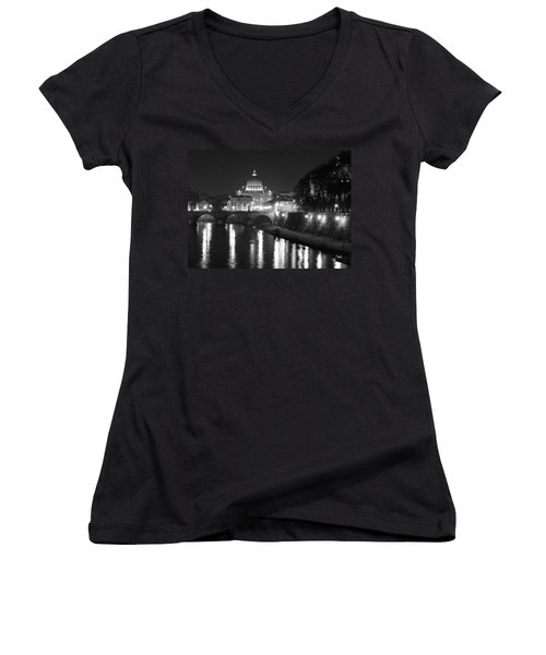 Women's V-Neck T-Shirt (Junior Cut) featuring the photograph St. Peters At Night by Donna Corless