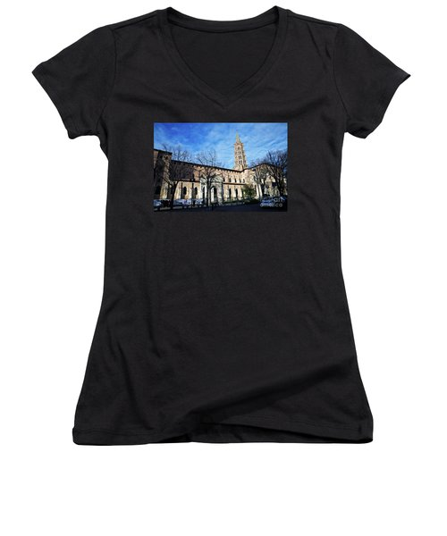 Women's V-Neck T-Shirt (Junior Cut) featuring the photograph St Sernin Basilica by Cendrine Marrouat