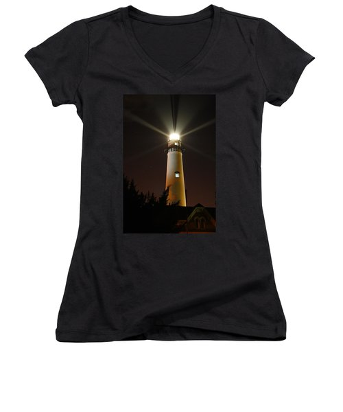 Women's V-Neck T-Shirt (Junior Cut) featuring the photograph St Simons Island Lighthouse by Kathryn Meyer