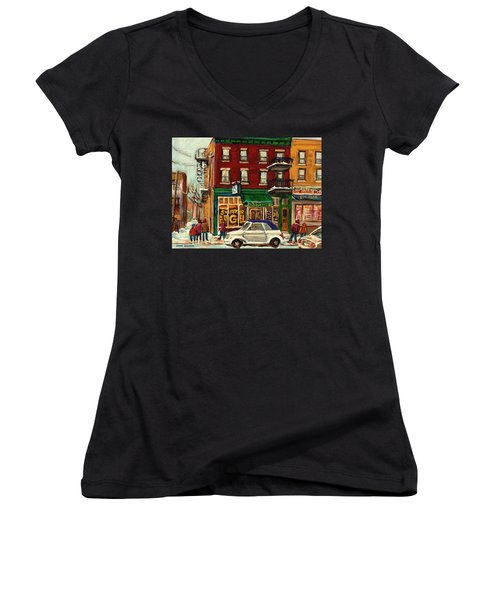 St Viateur Bagel And Mehadrins Deli Women's V-Neck