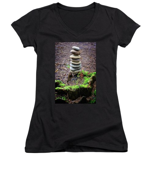 Women's V-Neck T-Shirt (Junior Cut) featuring the photograph Stacked Stones And Fairy Tales II by Marco Oliveira