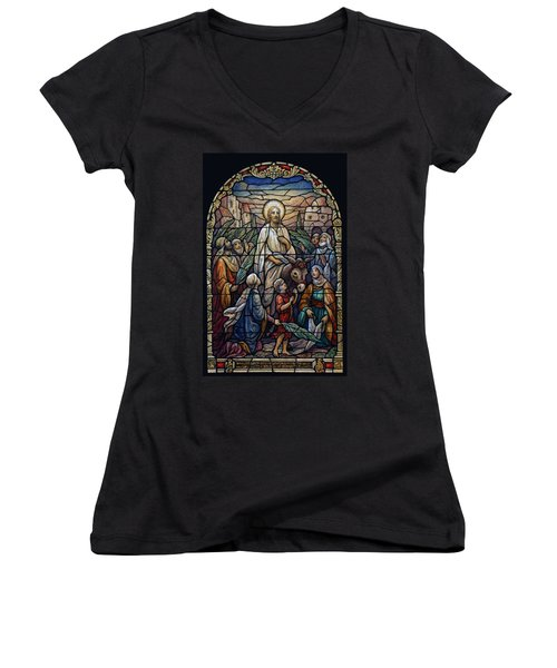 Stained Glass - Palm Sunday Women's V-Neck T-Shirt (Junior Cut) by Munir Alawi