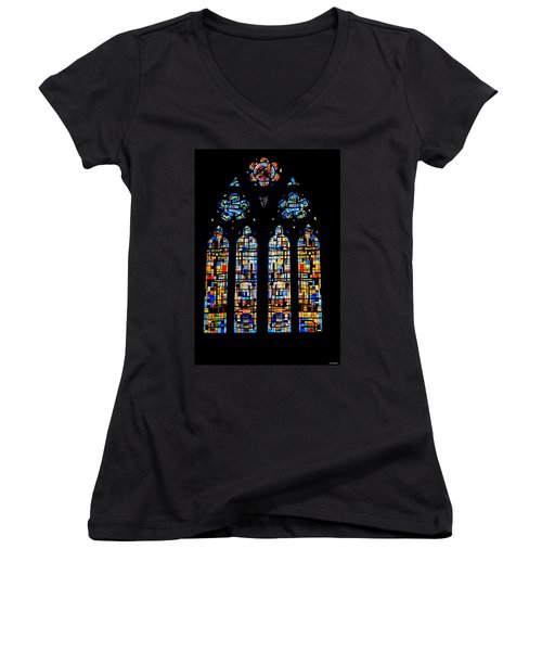 Women's V-Neck T-Shirt (Junior Cut) featuring the photograph Stained Glass France by Tom Prendergast