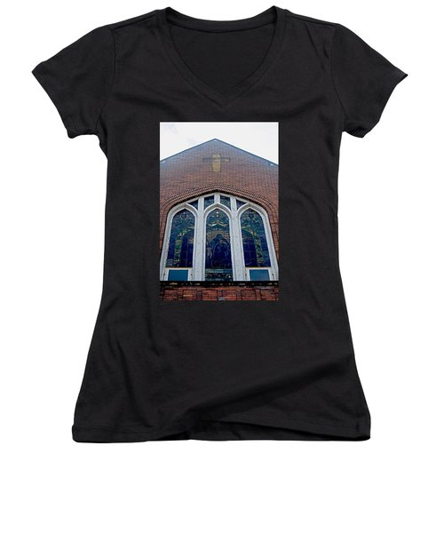 Stained Glass Women's V-Neck (Athletic Fit)