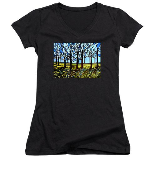 Stained Glass Trees Women's V-Neck
