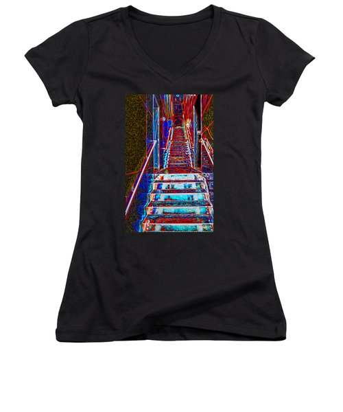 Stairway To Bliss Women's V-Neck T-Shirt (Junior Cut) by Phil Cardamone