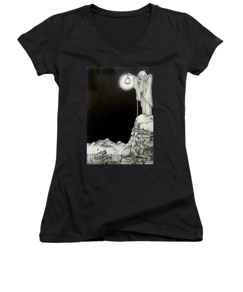Women's V-Neck T-Shirt (Junior Cut) featuring the drawing Stairway To Heaven by Patrice Torrillo