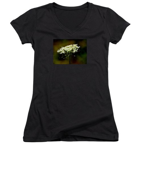 Women's V-Neck T-Shirt (Junior Cut) featuring the photograph Stamens Of Queen Annes Lace 2  by Lyle Crump