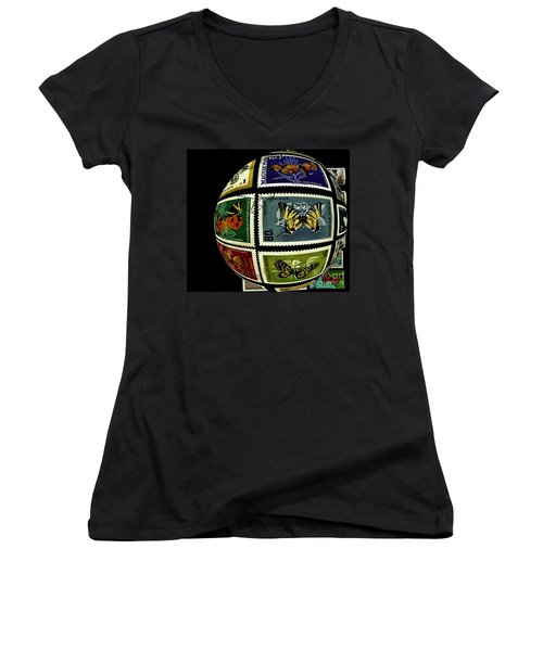 Stamp Collecting Around The World Women's V-Neck T-Shirt (Junior Cut) by Carol F Austin