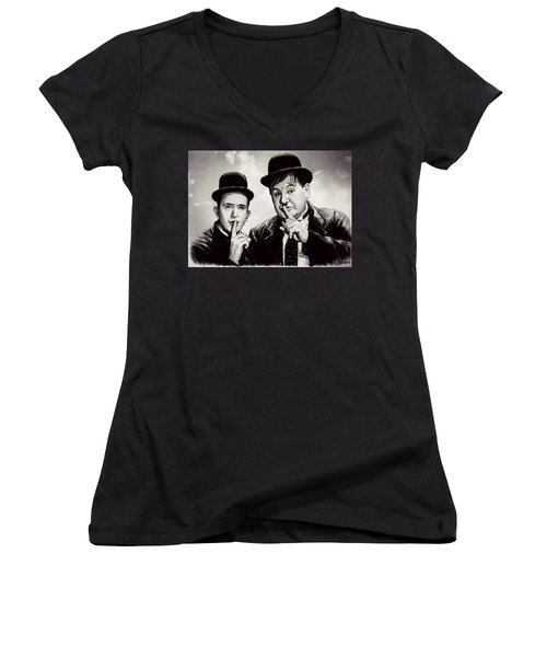 Stan And Ollie Comedy Duos Women's V-Neck (Athletic Fit)
