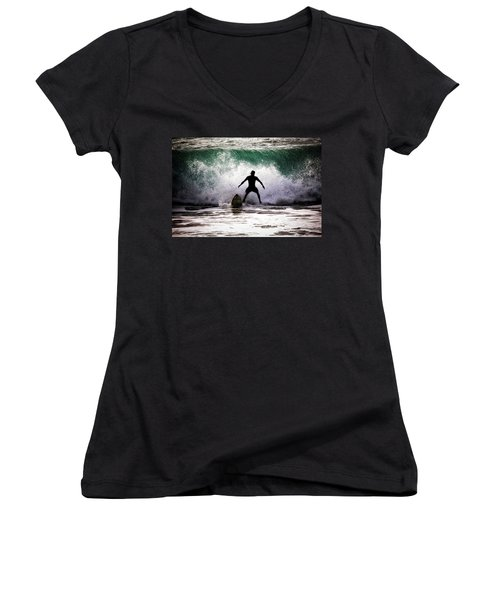 Women's V-Neck T-Shirt (Junior Cut) featuring the photograph Standby Surfer by Jim Albritton