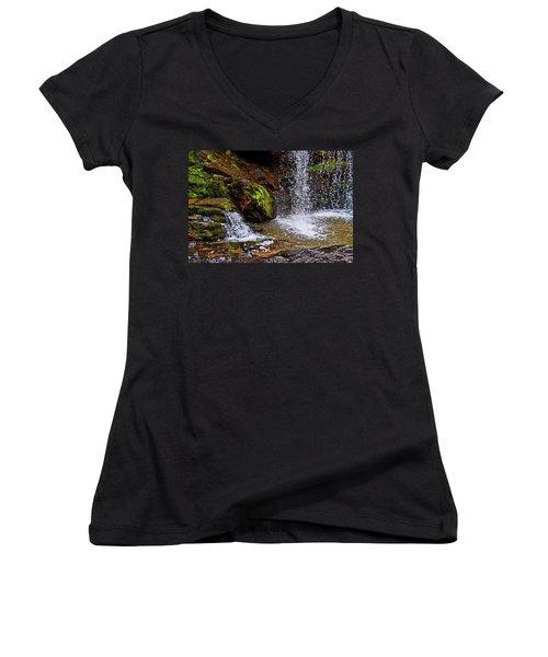 Standing In Motion - Brasstown Falls 011 Women's V-Neck T-Shirt (Junior Cut) by George Bostian