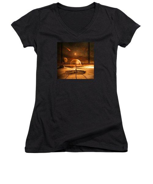 Standing In Time Women's V-Neck T-Shirt (Junior Cut) by Franziskus Pfleghart