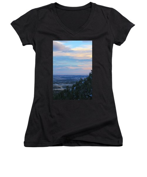 Women's V-Neck T-Shirt (Junior Cut) featuring the photograph Stanley Canyon Hike by Christin Brodie