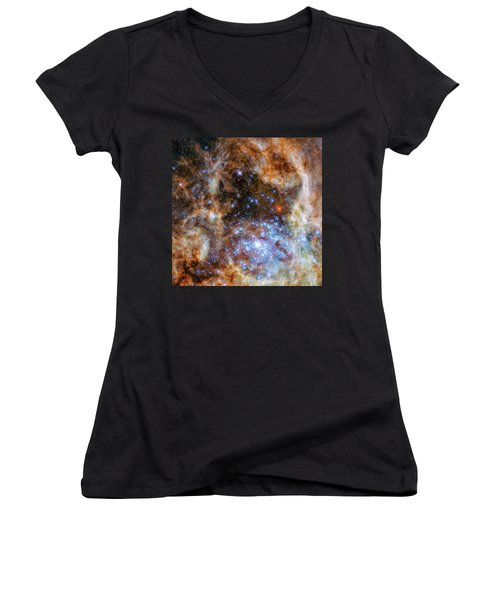 Women's V-Neck T-Shirt (Junior Cut) featuring the photograph Star Cluster R136 by Marco Oliveira