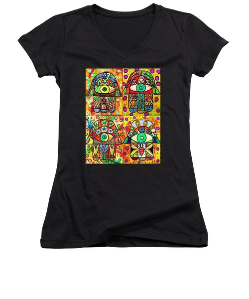Star Of David Hamsa Women's V-Neck T-Shirt