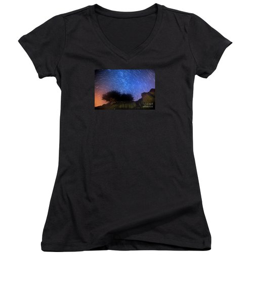 Star Trails Above Shell Beach Women's V-Neck T-Shirt