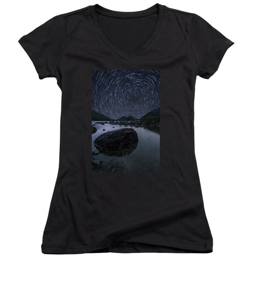 Star Trails Over Jordan Pond Women's V-Neck (Athletic Fit)