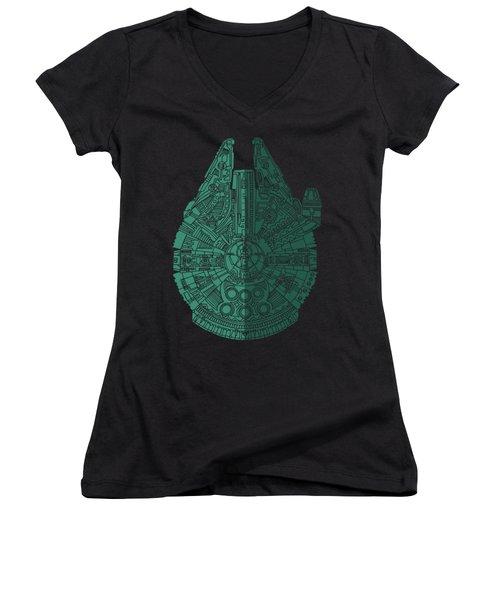 Star Wars Art - Millennium Falcon - Blue Green Women's V-Neck T-Shirt (Junior Cut) by Studio Grafiikka