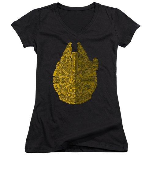 Star Wars Art - Millennium Falcon - Brown Women's V-Neck T-Shirt (Junior Cut) by Studio Grafiikka