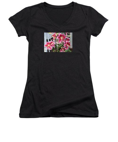 Women's V-Neck T-Shirt (Junior Cut) featuring the photograph Stargazer by Denise Romano