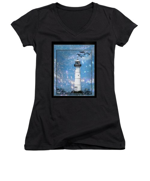 Starlight Lighthouse Women's V-Neck T-Shirt