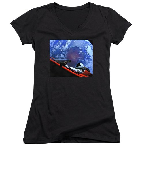 Women's V-Neck featuring the photograph Starman In Tesla With Planet Earth by SpaceX