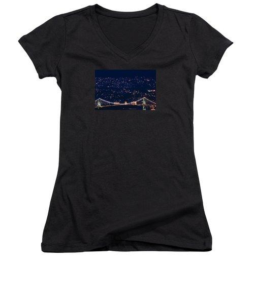 Women's V-Neck T-Shirt (Junior Cut) featuring the photograph Starry Lions Gate Bridge - Mdxxxii By Amyn Nasser by Amyn Nasser