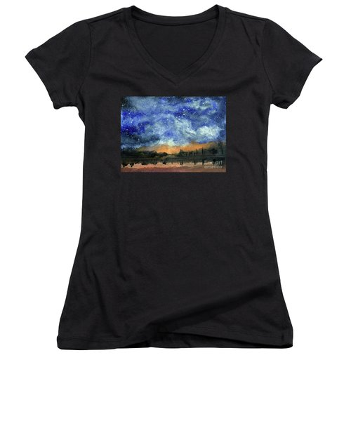 Starry Night Across Our Lake Women's V-Neck T-Shirt (Junior Cut) by Randy Sprout