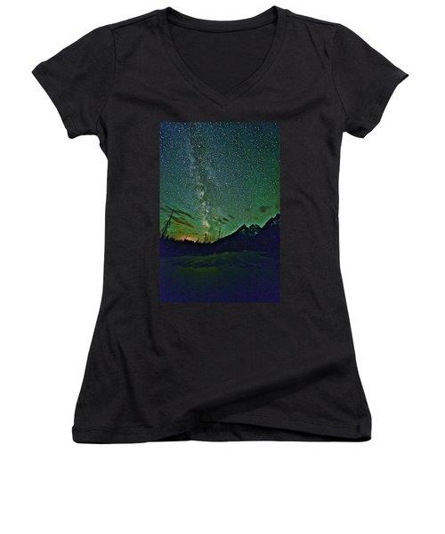 Starry Night Over The Tetons Women's V-Neck