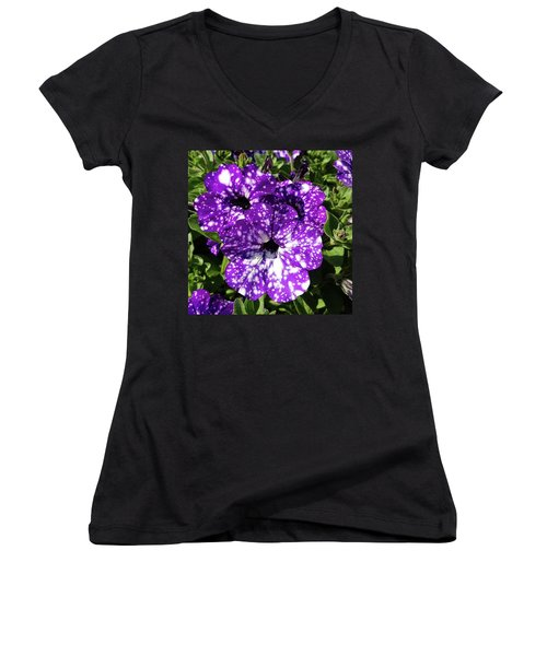Starry Petunias... Women's V-Neck
