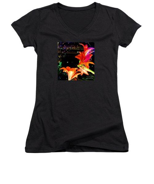 Stars And Flowers Women's V-Neck T-Shirt (Junior Cut) by Anna Yurasovsky